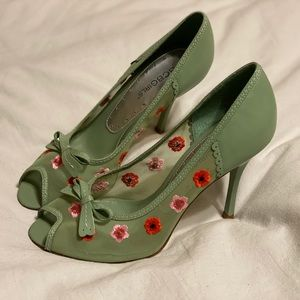 BCBGirls Floral Accent Mesh Peep-toe Heels